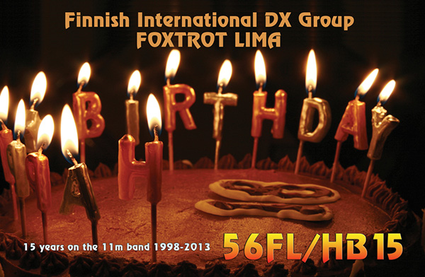 The 56FL/HB15 QSL card with a birthday cake